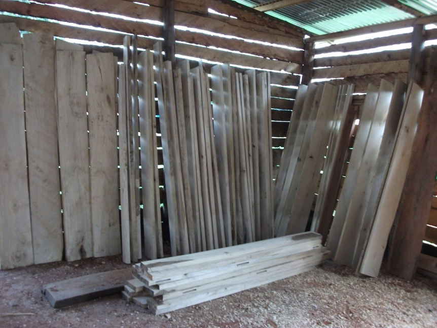Timbers being put to sizzle (dry) for making Kenyan Top Bar hives and European bee hives with support from BDMF